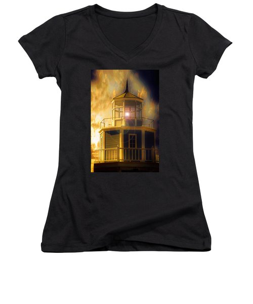 Women's V-Neck T-Shirt (Junior Cut) featuring the mixed media Lighthouse  by Aaron Berg