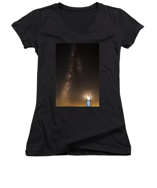 Lighthouse And Milky Way Women's V-Neck T-Shirt