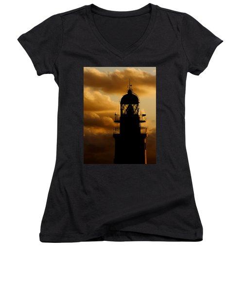 lighthouse dawn in the north coast of Menorca Women's V-Neck T-Shirt (Junior Cut) by Pedro Cardona