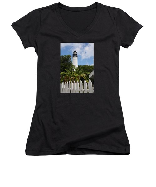 Women's V-Neck T-Shirt (Junior Cut) featuring the photograph A Sailoirs Guide On The Florida Keys by Christiane Schulze Art And Photography