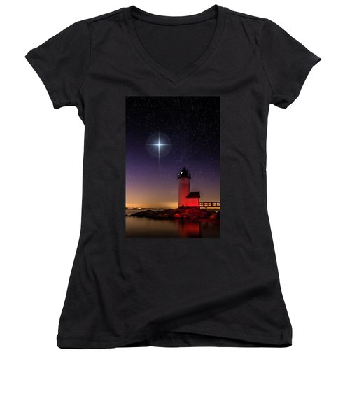 Women's V-Neck T-Shirt (Junior Cut) featuring the photograph Lighthouse Star To Wish On by Jeff Folger