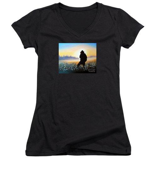 Women's V-Neck T-Shirt (Junior Cut) featuring the painting Lighthunter by Vesna Martinjak