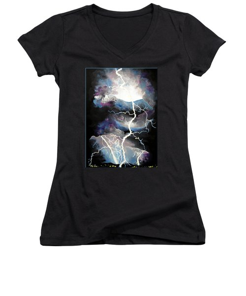 Women's V-Neck T-Shirt (Junior Cut) featuring the painting Lightning by Daniel Janda
