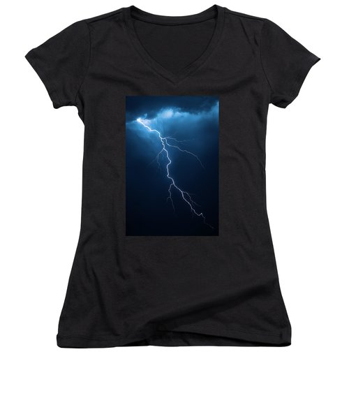 Lightning With Cloudscape Women's V-Neck T-Shirt (Junior Cut) by Johan Swanepoel