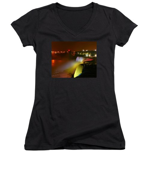 Lights On Niagara Falls Women's V-Neck T-Shirt