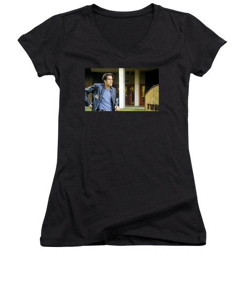 Women's V-Neck T-Shirt (Junior Cut) featuring the painting Lights Start Changing by Luis Ludzska
