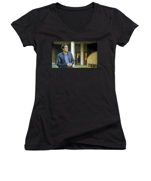 Women's V-Neck T-Shirt (Junior Cut) featuring the painting Like The Night When My Girl Went Away by Luis Ludzska