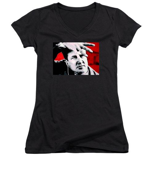 Women's V-Neck T-Shirt (Junior Cut) featuring the painting Lil Shes My Mothers Sisters Girl by Luis Ludzska