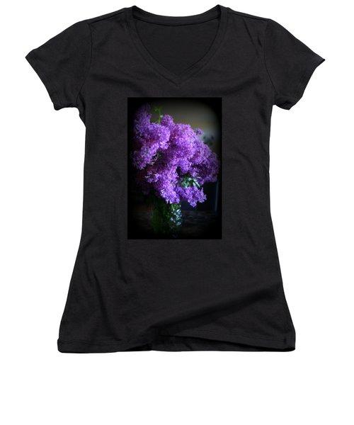 Lilac Bouquet Women's V-Neck T-Shirt (Junior Cut) by Kay Novy