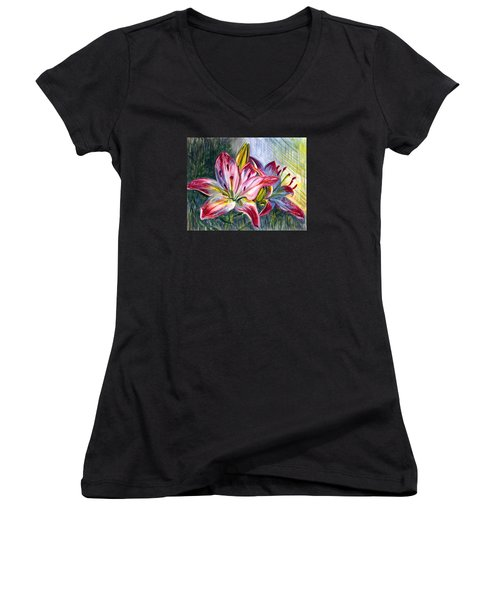 Women's V-Neck T-Shirt (Junior Cut) featuring the painting Lilies Twin by Harsh Malik