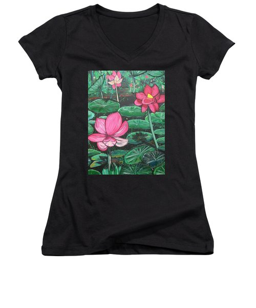 Lillies Women's V-Neck (Athletic Fit)