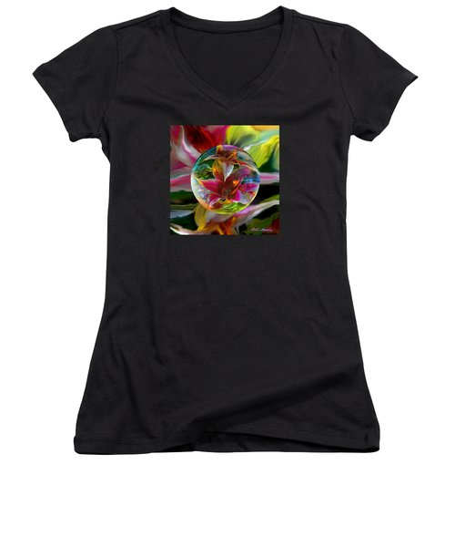 Women's V-Neck T-Shirt (Junior Cut) featuring the painting Lillium Bulbiferum by Robin Moline