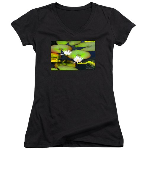 Lily Pond Bristol Rhode Island Women's V-Neck T-Shirt (Junior Cut)