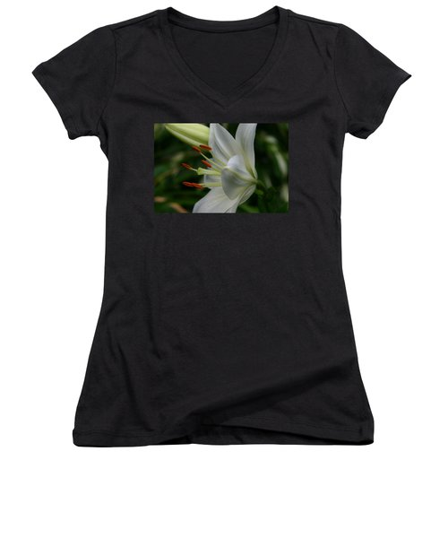Women's V-Neck T-Shirt (Junior Cut) featuring the photograph Lily Pure by Denyse Duhaime
