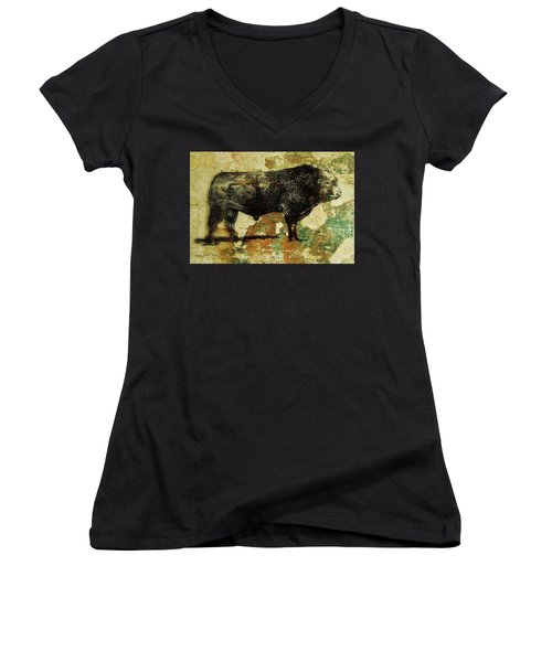 French Limousine Bull 11 Women's V-Neck T-Shirt (Junior Cut) by Larry Campbell