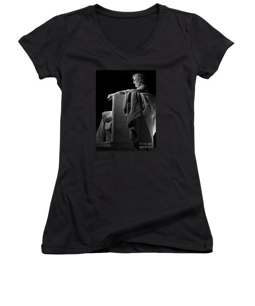 Lincoln In Black And White Women's V-Neck (Athletic Fit)