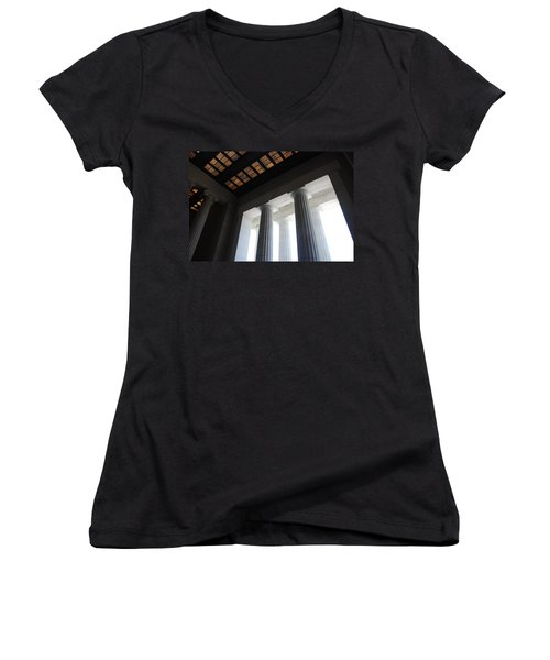 Lincoln Stained Glass And Columns Women's V-Neck T-Shirt