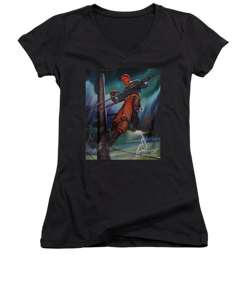 Lineman In Storm Women's V-Neck (Athletic Fit)
