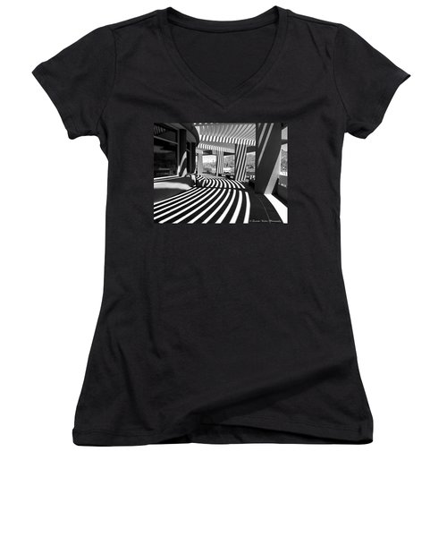 Women's V-Neck T-Shirt (Junior Cut) featuring the photograph Lines And Curves by Lucinda Walter