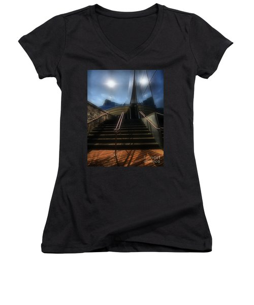 Women's V-Neck T-Shirt (Junior Cut) featuring the photograph Lines N Textures by Robert McCubbin