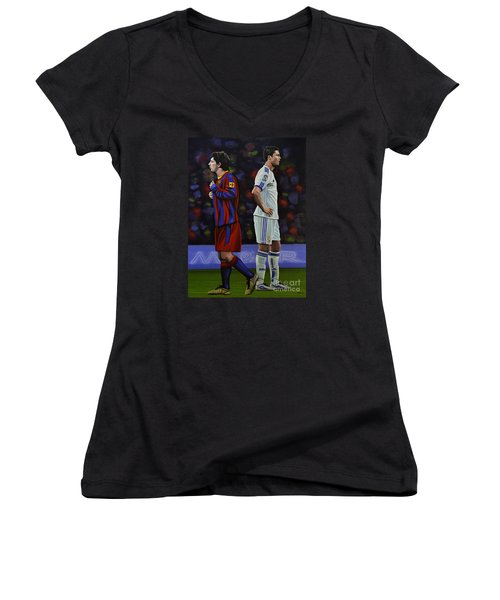 Lionel Messi And Cristiano Ronaldo Women's V-Neck T-Shirt