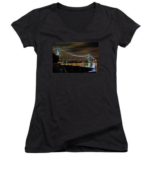 Lions Gate Bridge At Night Women's V-Neck T-Shirt