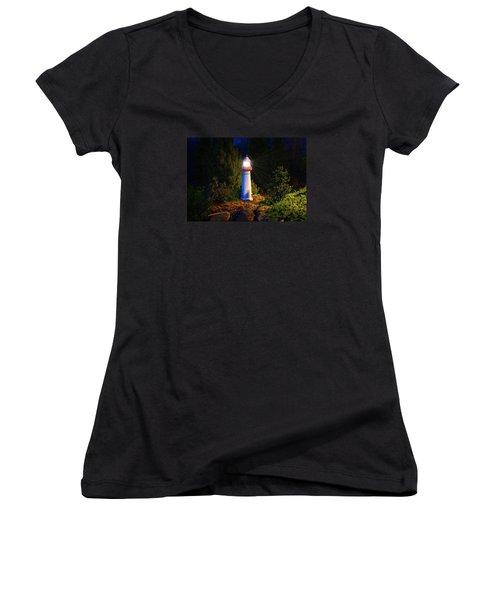 Lit-up Lighthouse Women's V-Neck T-Shirt (Junior Cut) by Kathryn Meyer