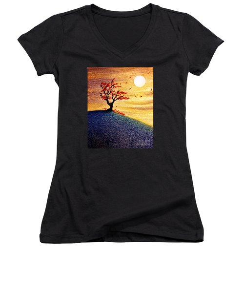 Women's V-Neck T-Shirt (Junior Cut) featuring the drawing Little Autumn Tree by Danielle R T Haney