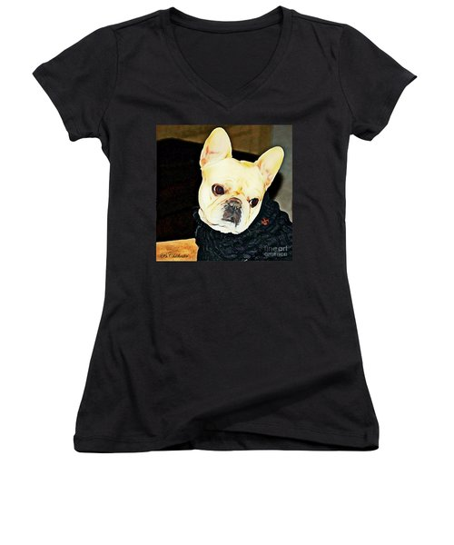 Women's V-Neck T-Shirt (Junior Cut) featuring the painting Little Black Sweater by Barbara Chichester