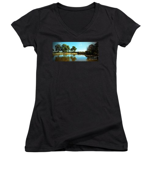 Women's V-Neck T-Shirt (Junior Cut) featuring the photograph Little Creek by Angela DeFrias