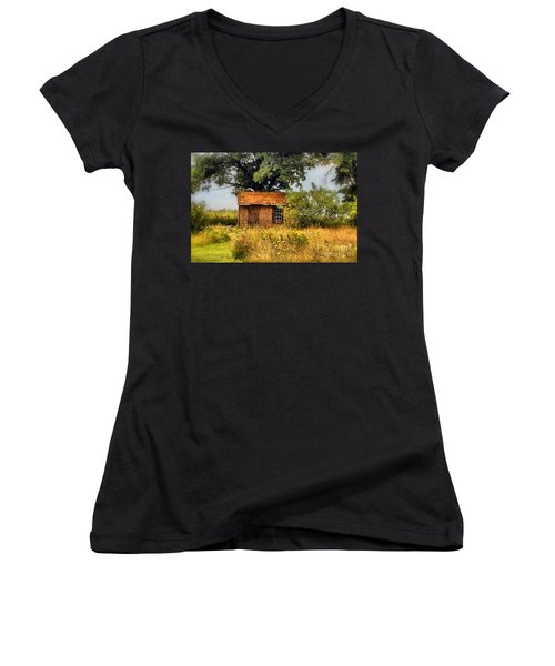 Women's V-Neck T-Shirt (Junior Cut) featuring the photograph Little House On The Prairie by Peggy Franz