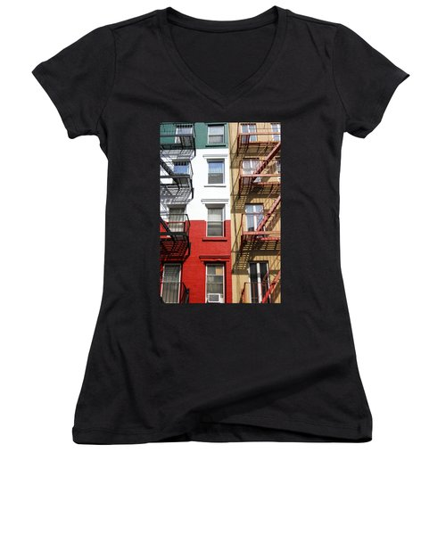 Little Italy. Women's V-Neck T-Shirt (Junior Cut) by Menachem Ganon