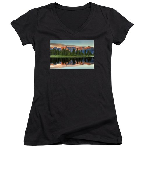 Little Molas Lake Sunset 2 Women's V-Neck T-Shirt (Junior Cut) by Alan Vance Ley