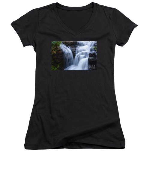 Women's V-Neck T-Shirt (Junior Cut) featuring the photograph Little Niagara by Debra Fedchin