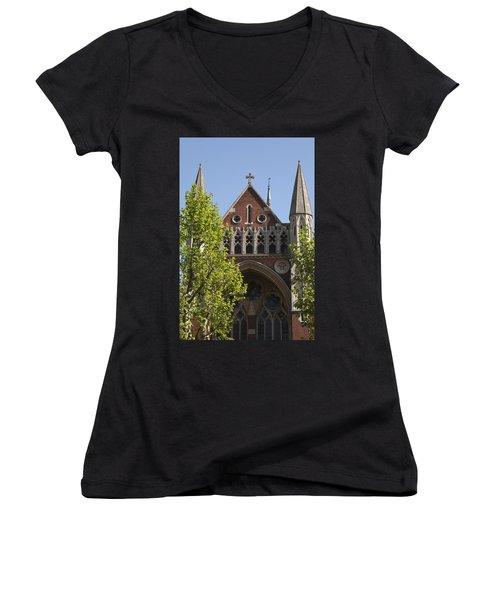 Women's V-Neck T-Shirt (Junior Cut) featuring the photograph Little Venice Church by Maj Seda