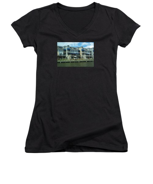 Women's V-Neck T-Shirt (Junior Cut) featuring the photograph Living On The Dock Of The Bay by Emmy Marie Vickers
