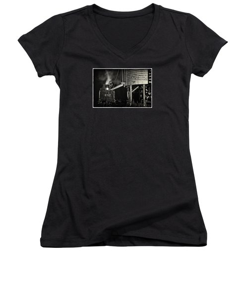 Women's V-Neck T-Shirt (Junior Cut) featuring the photograph Loading Water At Chama Train Station by Priscilla Burgers