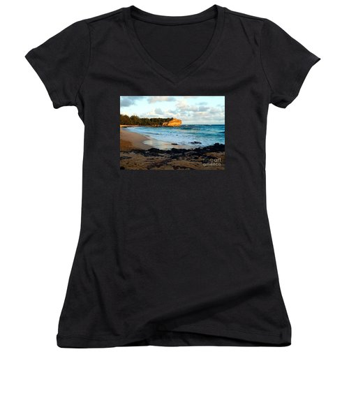 Local Surf Spot Kauai Women's V-Neck (Athletic Fit)