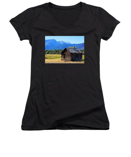 Women's V-Neck T-Shirt (Junior Cut) featuring the photograph Location Location Location Montana by Joseph J Stevens