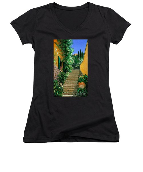 Lofty Heights Women's V-Neck T-Shirt (Junior Cut) by Michael Swanson