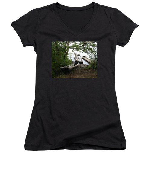 Women's V-Neck T-Shirt (Junior Cut) featuring the photograph Log Canoes by Kerri Mortenson