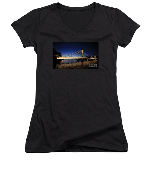 Women's V-Neck T-Shirt (Junior Cut) featuring the photograph London Albert Bridge  by Mariusz Czajkowski