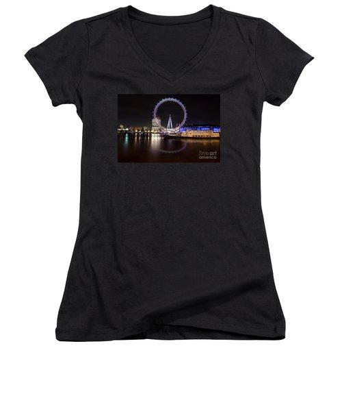 Women's V-Neck T-Shirt (Junior Cut) featuring the photograph London Eye Night by Matt Malloy
