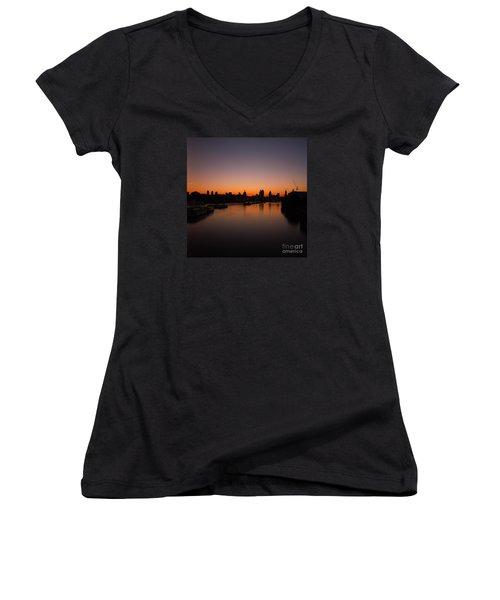 Women's V-Neck T-Shirt (Junior Cut) featuring the photograph London Sunrise 2 by Mariusz Czajkowski
