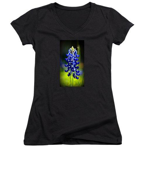 Lone Star Bluebonnet Women's V-Neck T-Shirt (Junior Cut) by Stephen Stookey
