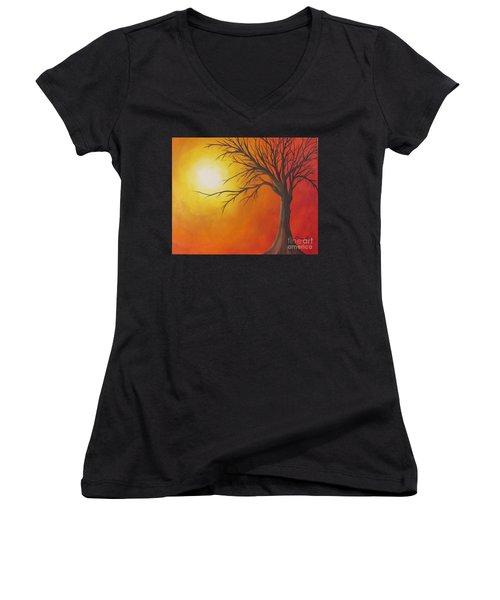Lone Tree Women's V-Neck T-Shirt (Junior Cut) by Denise Hoag