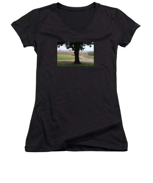 Women's V-Neck T-Shirt (Junior Cut) featuring the photograph Long Ago And Far Away by Elizabeth Sullivan
