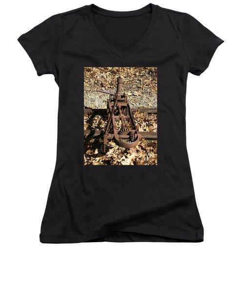 Women's V-Neck T-Shirt (Junior Cut) featuring the photograph Long Forgotten by Sara  Raber