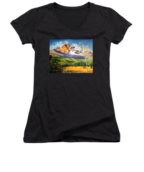 Women's V-Neck T-Shirt (Junior Cut) featuring the painting Longs Shadows by Craig T Burgwardt