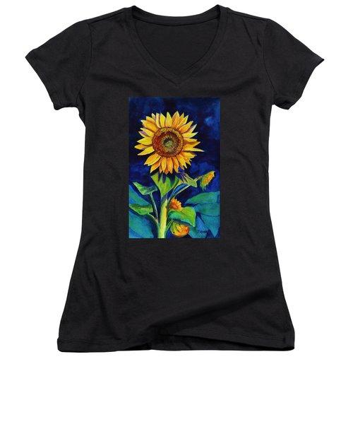 Midnight Sunflower Women's V-Neck (Athletic Fit)